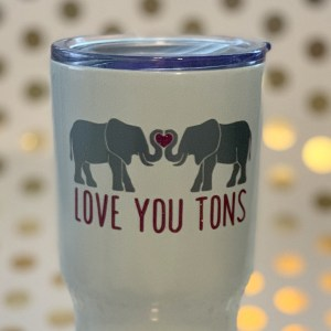 Love you Tons stainless tumbler elephants