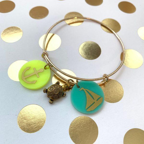 anchor sailboat turtle charm bracelet