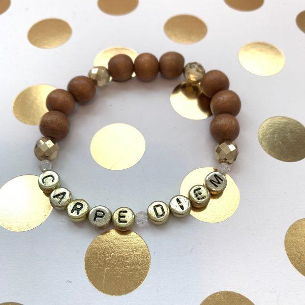 carpe diem wood bead bracelet