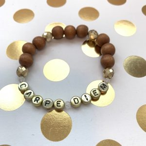 carpe diem wood bead bracelet