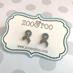 gray ribbon earrings for brain tumor awareness