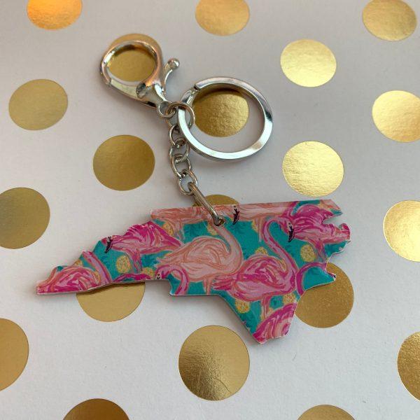 Flamingo Print NC Keychain by zoo&roo