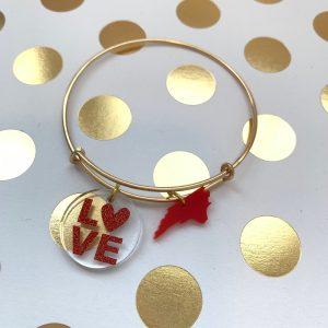 red LOVE NC charm bracelet