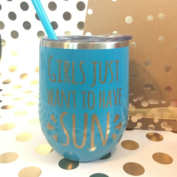girls just want to have sun aqua with gold glitter