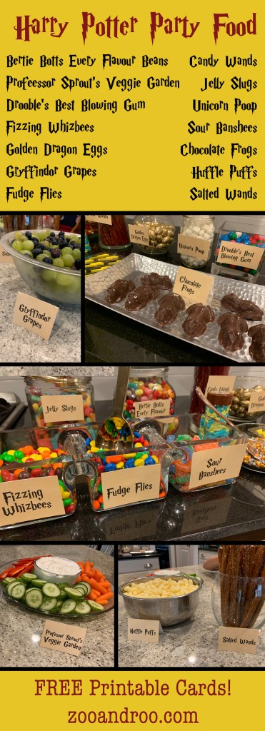 Harry Potter Party Food Free printable cards