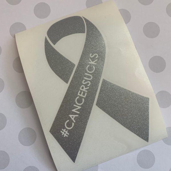 brain tumor awareness ribbon decal cancer sucks