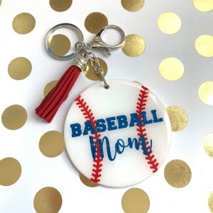 baseball mom keychain by zoo&roo
