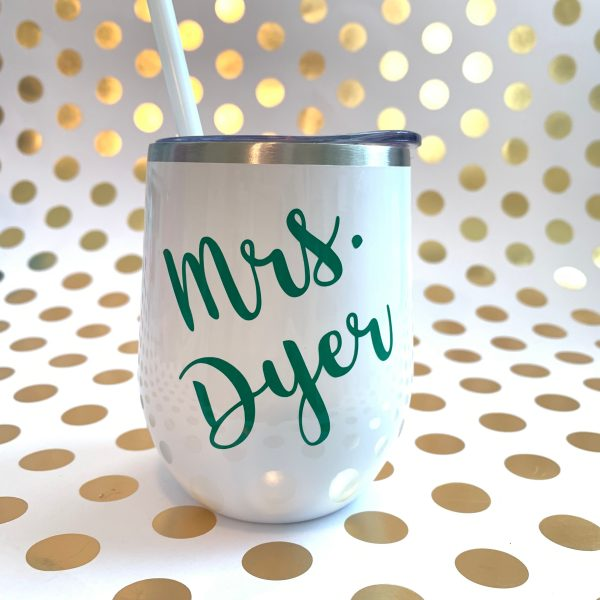 name wine tumbler white with green