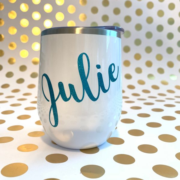 name wine tumbler white with teal glitter