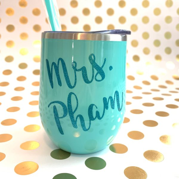 name wine tumbler mint with teal glitter