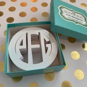 monogrammed acrylic coasters white