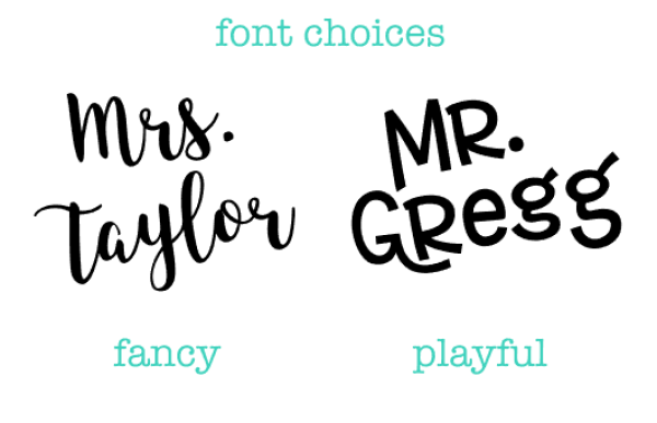font choices for name