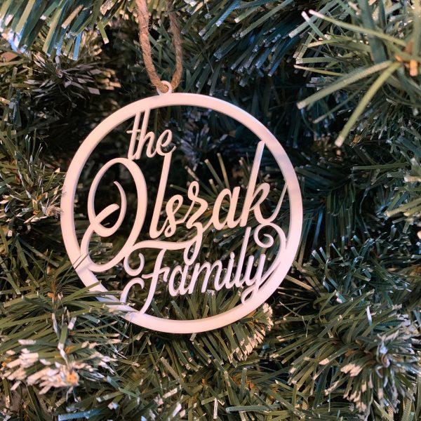 Olszak family custom name ornament