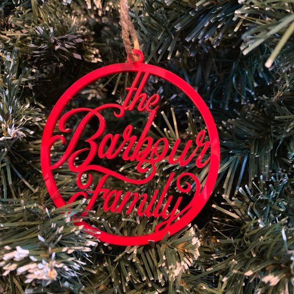 Barbour family custom name ornament