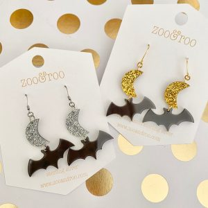 moon and bat halloween earrings