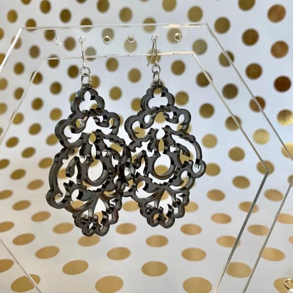 translucent gray chandelier earrings
