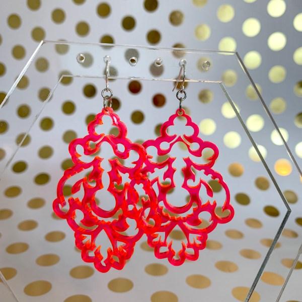 fluorescent pink chandelier earrings