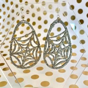 silver glitter spider web earrings