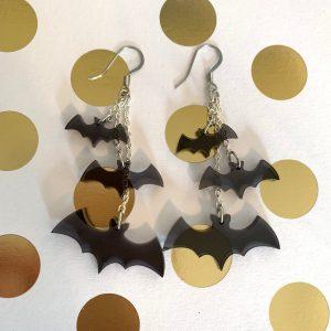 flying bat earrings