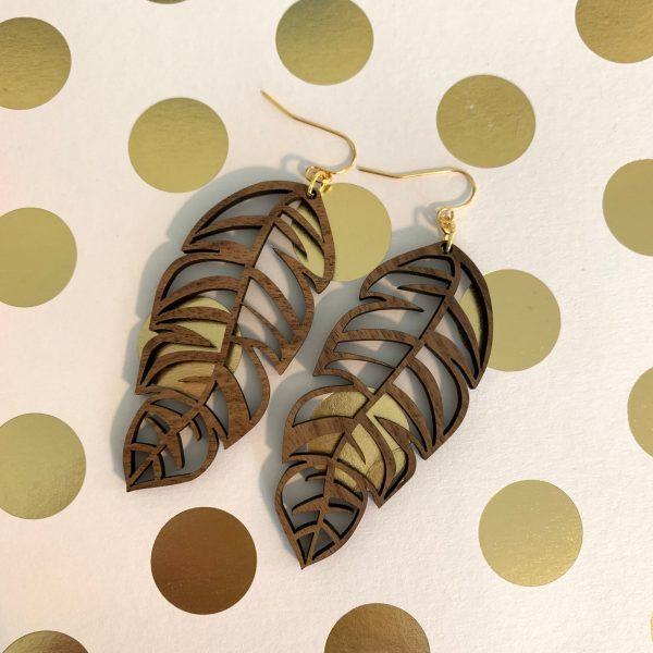 wood feather earrings