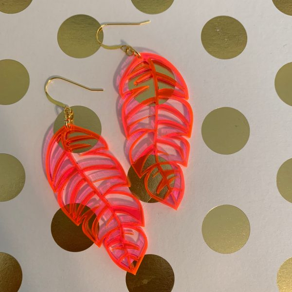 fluorescent pink acrylic feather earrings