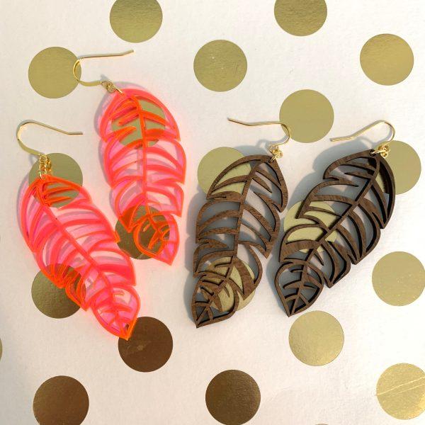 acrylic and wood feather earrings