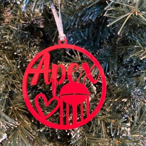 apex water tower Christmas ornament red