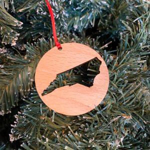 North Carolina cut out wood ornament