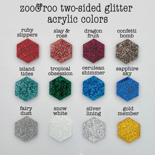 zoo&roo two sided glitter acrylic color choices