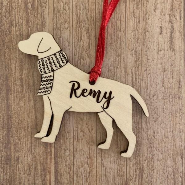 Labrador Retriever personalized wood Christmas ornament
