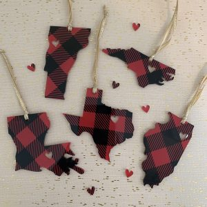 buffalo plaid acrylic state ornaments
