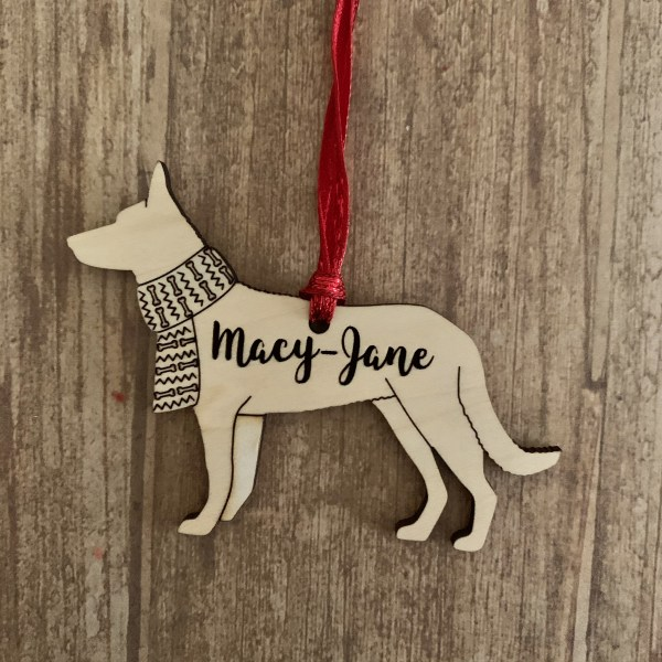 German Shepherd personalized wood Christmas ornament