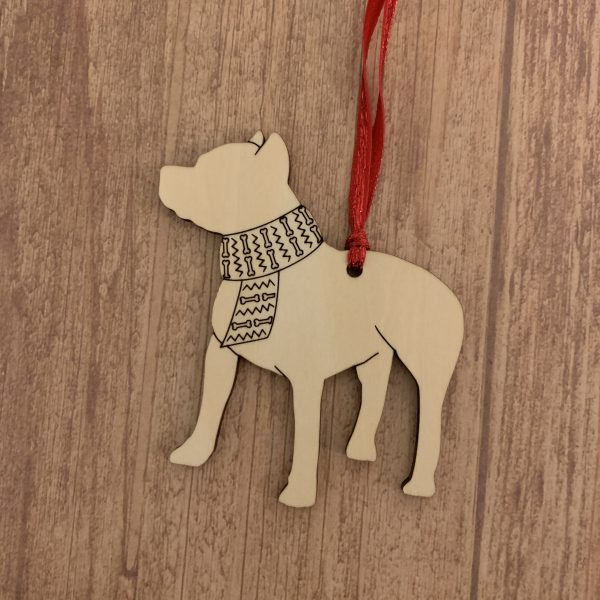 Pit Bull personalized wood Christmas ornament