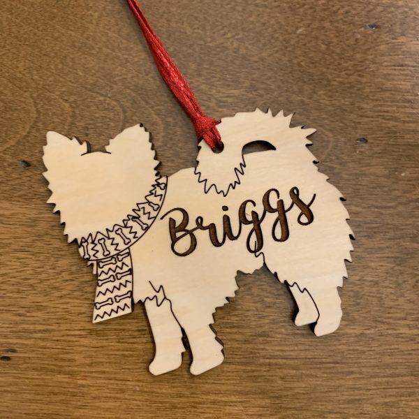 pomchi dog breed wood ornaments
