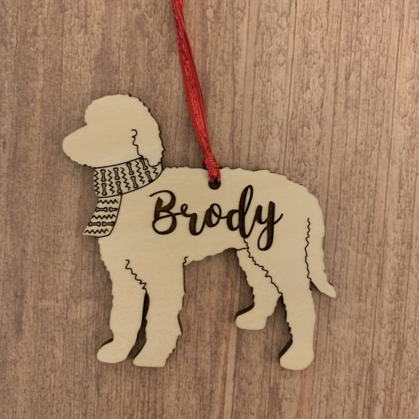Goldendoodle personalized wood Christmas ornament