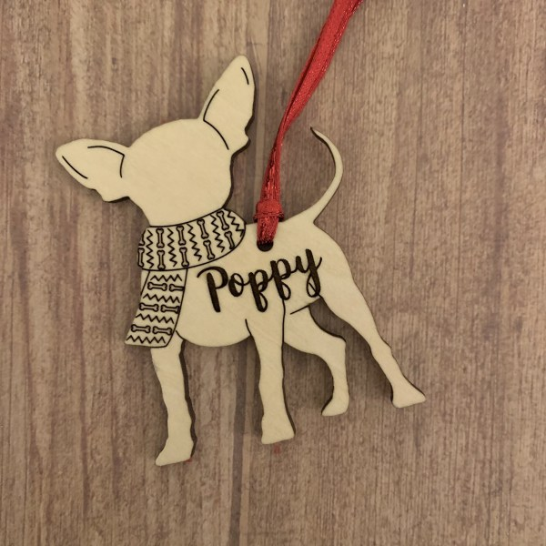 Chihuahua personalized wood Christmas ornament