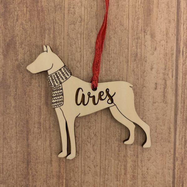 Doberman personalized wood Christmas ornament