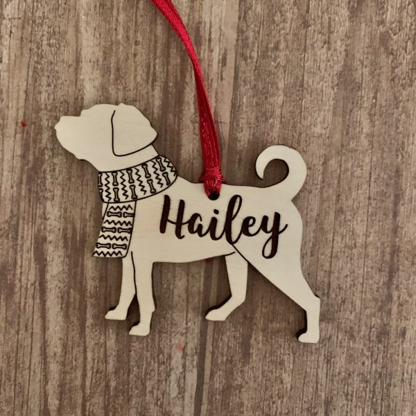 Puggle personalized wood Christmas ornament