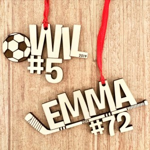 custom sport ornaments soccer hockey