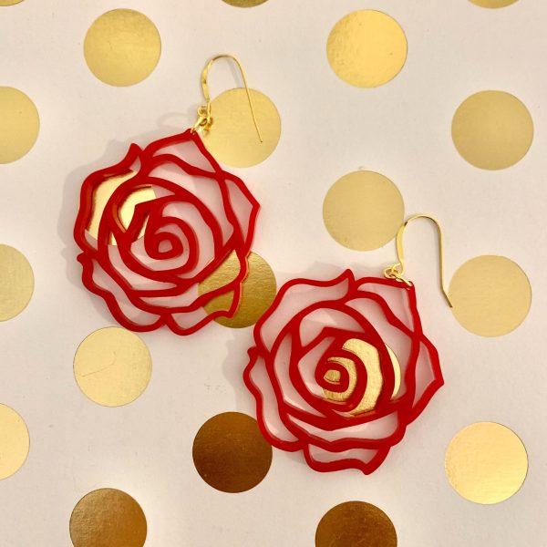 acrylic red rose earrings