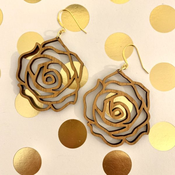 cherry wood rose earrings