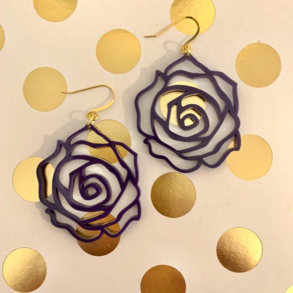 acrylic purple rose earrings