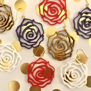acrylic and wood rose earrings