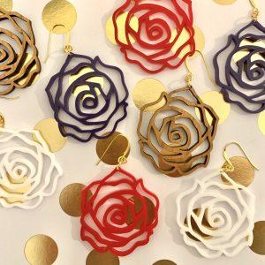 acrylic and wood rose earrings