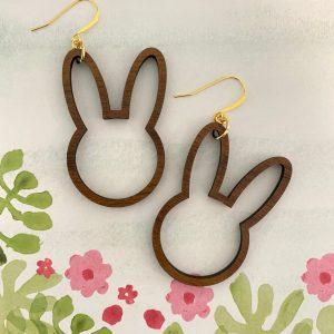bunny outline earrings walnut