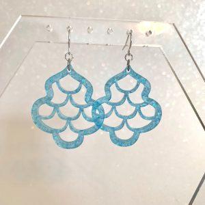 mermaid scale earrings nebula glitter