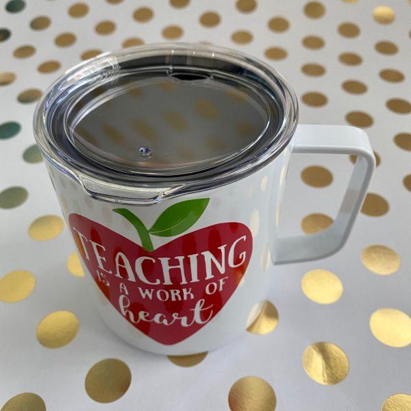 top of stainless mug
