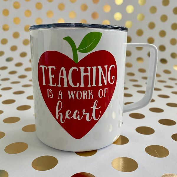 teaching is a work of heart stainless mug white
