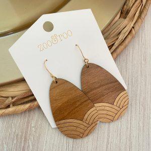 A New Dawn earring in cherry wood