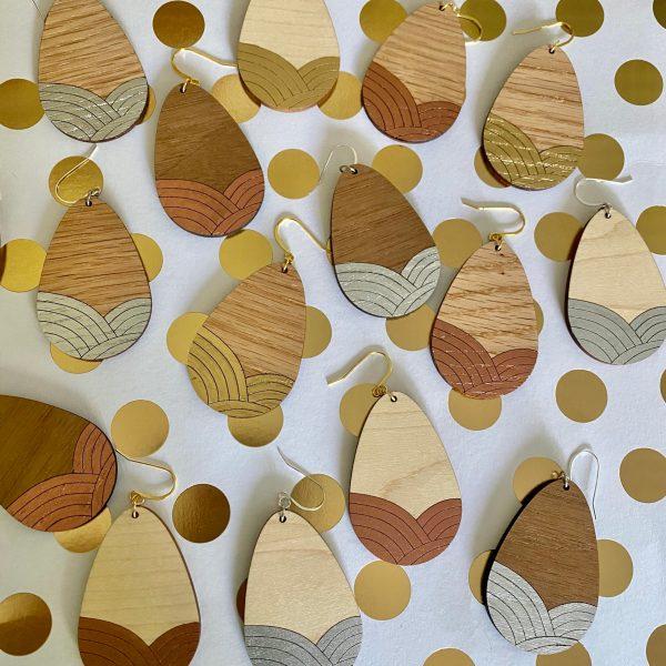 copper gold and silver leaf wood teardrop earrings